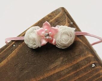 Thin Skinny Pink Elastic Headband  with Flowers - Baby - Custom