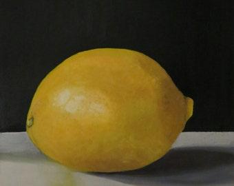 Lemon, oil painting, oil painting, oil on canvas, 40 cm x 40 cm, unframed, multiple layers, long drying time realistically painted,