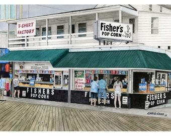 Ocean City Treats - Art Print Watercolor Painting Boardwalk, Eastern Shore, Beach wall art, Christmas gift ideas