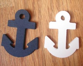 25 XL Big Anchor Navy Blue & White Paper Party Supplies Die Cuts Confetti Scrapbooking Paper Baby Shower Wedding Birthday