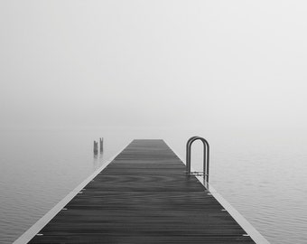 "Minimalist Black and White Photography Print, Dock, Fog, Water, Fine Art Landscape, Living Room Art, Pacific Northwest, Modern,  ""The Edge"""