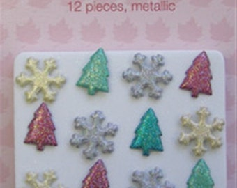 Brads-Christmas Glitter - 12 mettalic pieces in pack