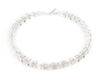 """Ice - 18"""" necklace of clear rock crystal and sterling silver"""