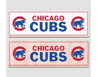 "Chicago Cubs Wood sign - 7"" x 22"" - Chicago Cubs fan wall hanging - Boys room Man cave Sports Bar decor - Fathers Day gift for Dad"