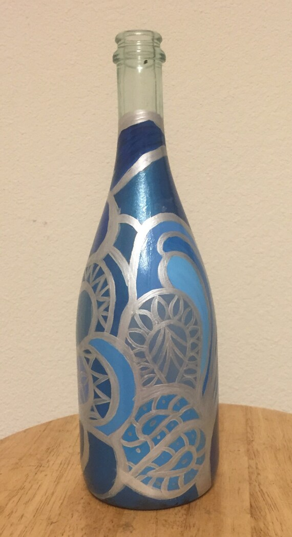 Items similar to hand painted wine bottle on etsy for What kind of paint to use for wine bottles