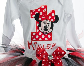 Red Minnie Mouse 1st Birthday Outfit Minnie Mouse Birthday Outfit Red Minnie Mouse Birthday Shirt Minnie Mouse 1st Birthday Shirt