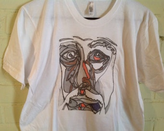 "Picasso, "" black and white line"" t shirt"