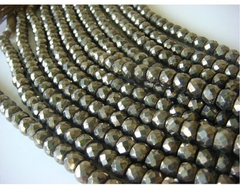 Pyrite Beads, Natural Pyrite Faceted Rondelle Beads - 8 Inch Strand - 7.5mm Approx