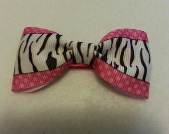 Zebra print and pink alligator clip hair bow