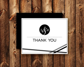 Set of Contemporary Modern Black and White Ribbon Wedding Thank You Cards Folded Blank Note Card