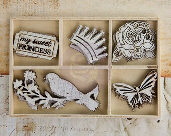 """Prima """"Wooden Icons In A Box"""" PRINCESS Collection 572907 Rose, Bird, Crown Laser cut Wood Embellishments Vintage style distressed"""