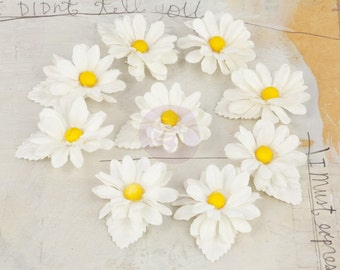 Prima Lil Missy - Snow Daisy 571627 White Small Mulberry Paper Flowers. Wedding Embellishments