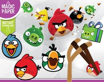 Angry Birds Clipart - Digital 300 DPI PNG Images, Photos, Scrapbook, Cliparts - Instant Download