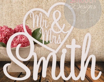 Personalised White Wedding Sign - Mr & Mrs in Heart with Surname