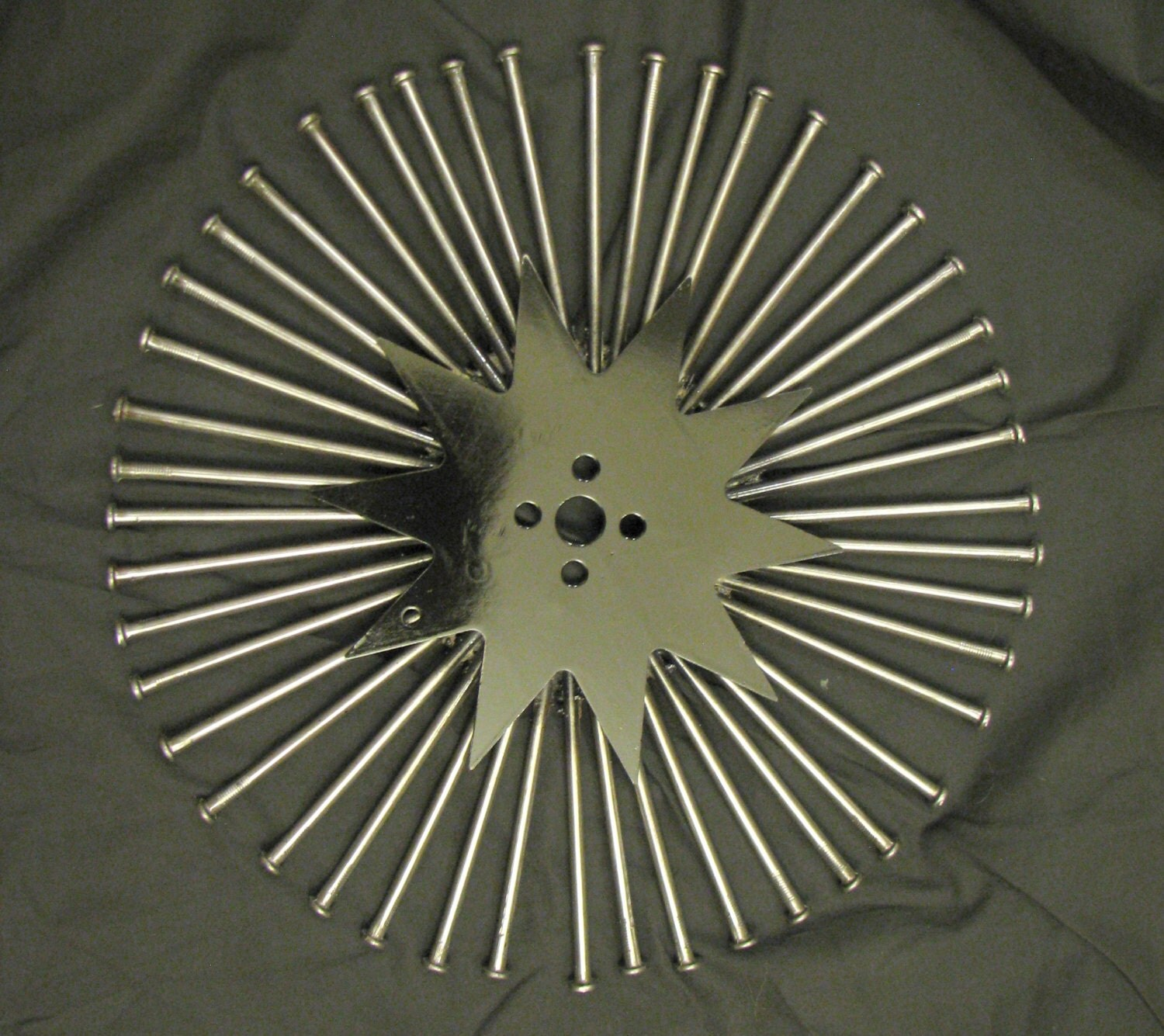 Round Wire Wall Decor : Custom welded round metal nails wall art