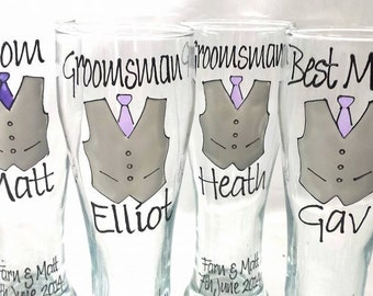 Wedding Glasses Pilsner Groom Groomsman Best Man gifts Hand Painted to order & Gift boxed,Suit or Vest design Bow or Long tie Toasting Glass