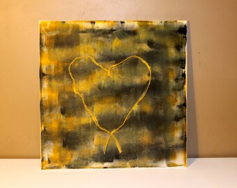Heart Plaid Canvas Painting