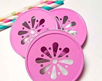 15 PINK Daisy Cut Mason Jar Lids for Straws Daisy Lids, Summer Wedding Birthday Garden Party Decoration