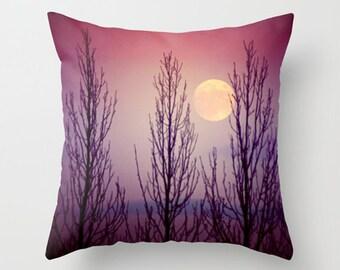 "Moon pillow, moon cushion, purple pillow, purple cushion, purple decor, pillow cover, cushion cover, nature, photography, 14"", 16"", 18"", 20"""