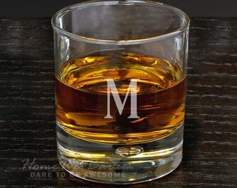 Personalized Double Old Fashioned Glass - Bryne Glass with Custom Initial - Gifts for Anniversary Birthday and More - Engraved Gift