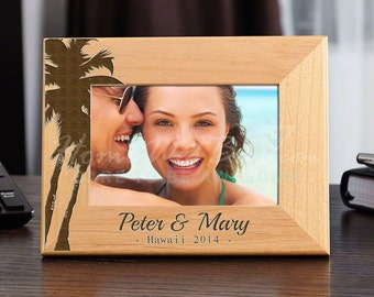 "Island Palms Personalized Picture Frame 4"" x 6"" Photo Easel Back Desktop"