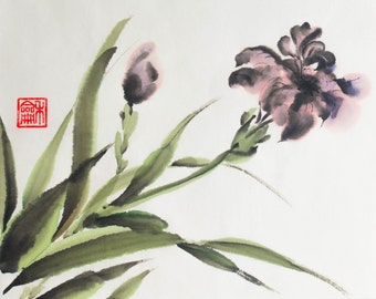 Japanese Ink Painting, Watercolor painting, Watercolor art, Sumi-e, Chinese Brush Painting, Rice paper, 10,2x8,3 inch, Iris
