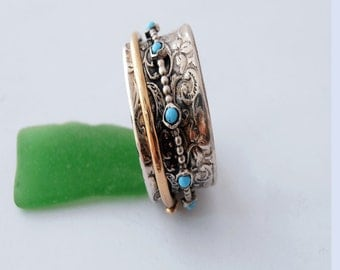 Silver Ring with 14k Gold Filled Spinning Ring with Turquoise Gemstone. Spinner Ring.Price is for one ring.  Made israeli jewelry.