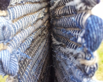 Hand woven denim rug made of recycled jeans
