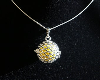 "Gentle Chime Mesh Ball Pendant with Multiple Color Options in 925 Sterling Silver With 18"" or 22"" Sterling Silver Chain"