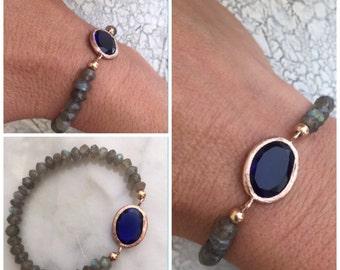 Smokey Quartz Saphire Blue Bracelet