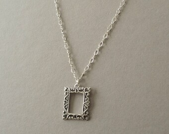Picture frame sterling silver necklace - photo frame necklace - antique silver necklace - gift for mom