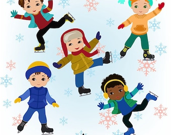 50% OFF SALE Boys Skating, Winter Ice Skating Clipart Boys Bundle