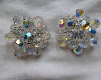 Vintage Chrystal Cluster Clip on Earrings