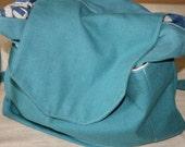 Cross body Bag, Big  Handbag, Shoulder Bag, Big Handmade  Bag,  Handmade Gift , Turquoise  Bag, One Of a Kind Large Bag