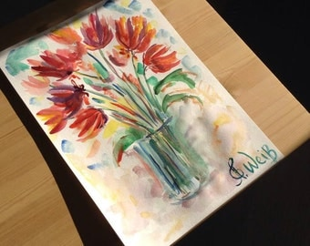 Original Tulip painting. Red flowers painting. Clearance. Sale. Ausverkauf