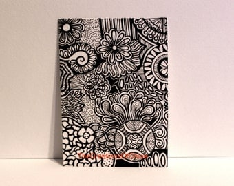 Original ACEO card - Doodle Drawing - Modern Abstract Art - Pen and Ink. Made on thick marker paper