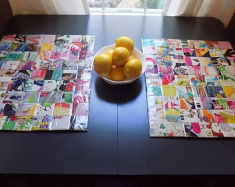 Colorful magazine placemats