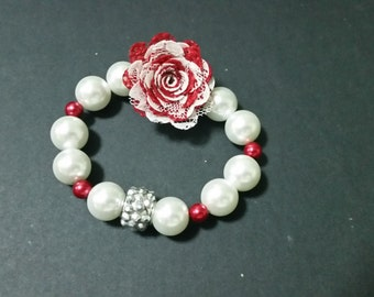 Red Floral And Pearl Bracelet