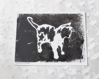 Black cat magnet,  black cat print, art, magnet cat, decoration, fridge magnet, animal drawing, animal painting, magnetic card