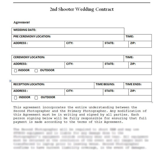 Wedding Photography Second Photographer Agreement