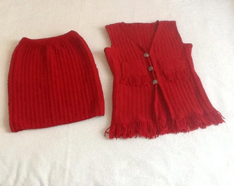"""Skirt and vest set """"Pretty in red"""""""