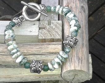 Insanely beautiful handmade bracelet made of MOSS agate.