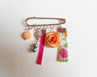 "brooch ""rose"" and liberty in shades of orange on support PIN"