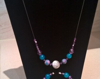 Necklace, Earrings and Bracelet Set (Eastern Promise Turquoise and Purple), Silver Necklace, Silver Earrings, Silver Bracelet, Beaded