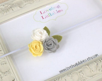 Yellow Gray Headband or Hair Clip of Felt Rolled Rose Trio for Newborn Baby Toddler Child Flower Girl; Newborn Baby Photography Prop Idea