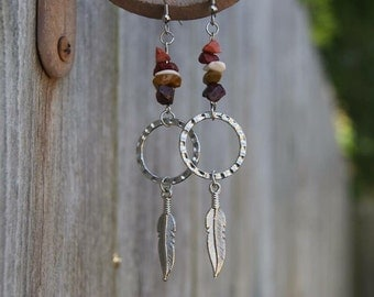 Feather stone dangles
