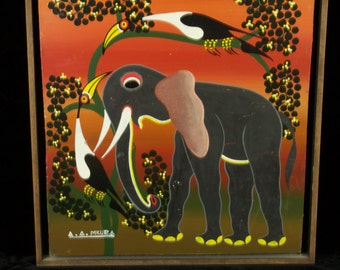 1986 African Acrylic Painting of Elephant and Birds