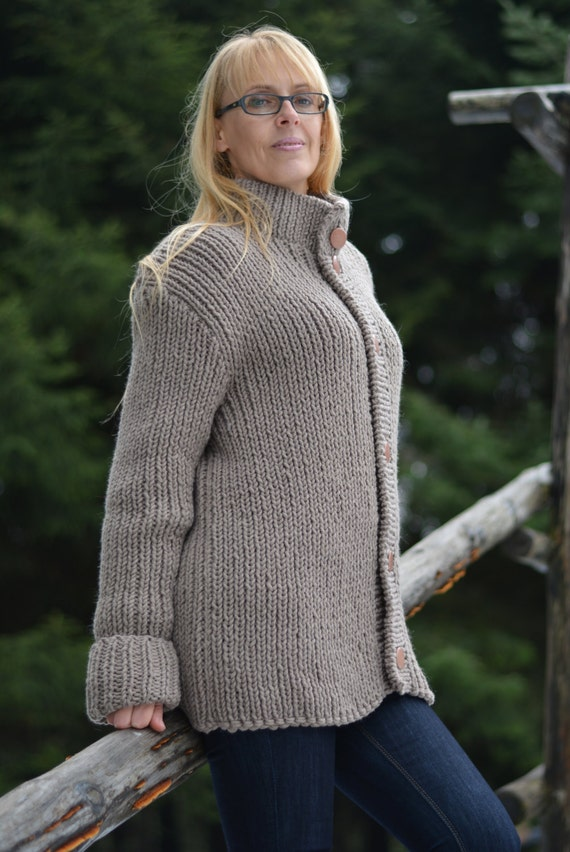 READY hand knitted wool cardigan handmade coat soft merino