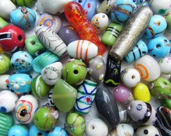 Assorted ONE pounds SUPER DELUX lampwork handmade glass beads mix