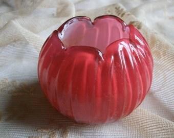 c1900 Posy Rose Bowl Pink Glass Victorian Vase English